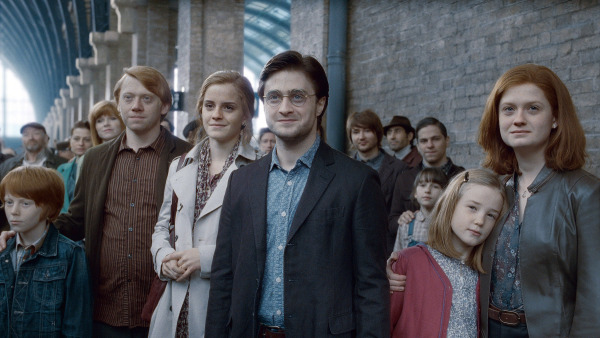 Screen grabs of the film adaptation of the last scenes of the Harry Potter adventures - which fans thought would be the last they would see of him