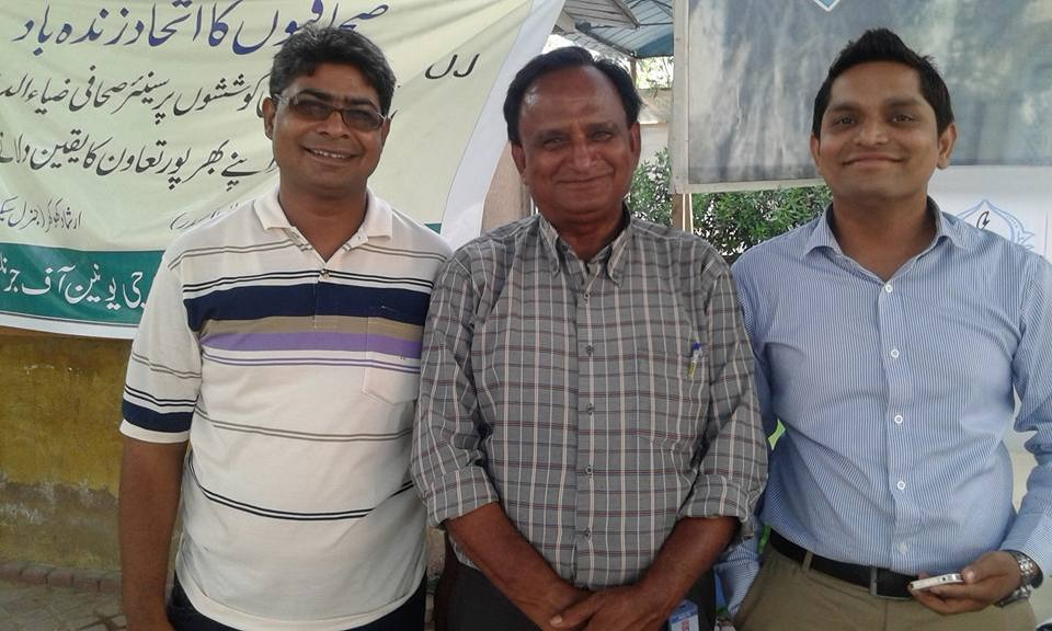 Sahib Khan Oad with other journalists