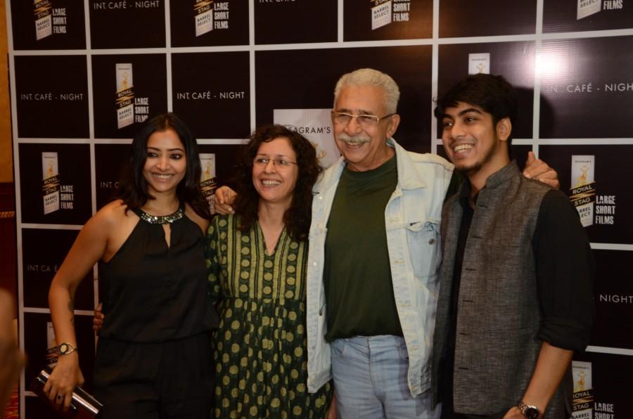 Shweta Basu Prasad, Shernaz Patel, Naseeruddin Shah and Adhiraj Bose at the launch of Royal Stag Barrel Select Large Short Films\' Interior Cafe Night