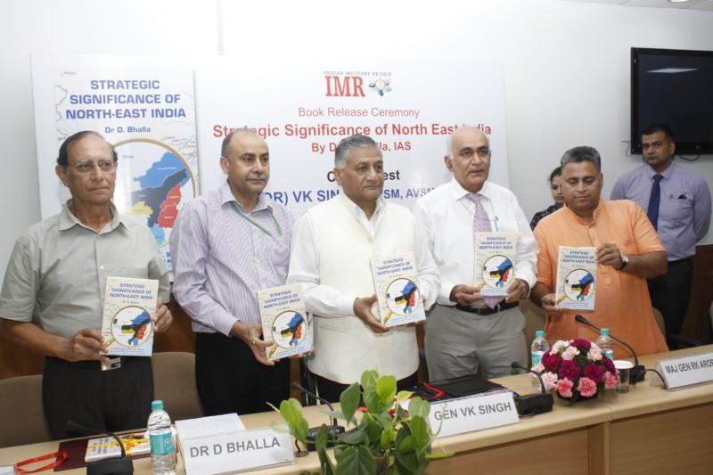 Gen (Dr.) V. K. SIngh, Minister of State for External Affairs releasing book on Strategic Significance of North-East India, wriitten by  Dr. D K Bhalla, Secretary, Lok Sabha Secretariat (from Left to Right 2nd with Maj Gen Ravi Arora and Shri Sunil Deodhar, Senior BJP Leader & Incharge of Tripura in New Delhi, July 08, 2016