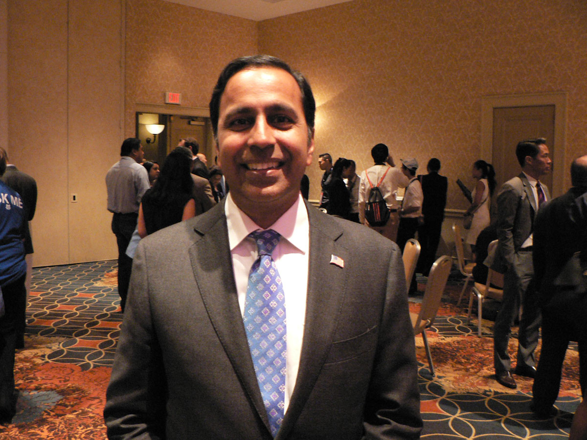 """Raja Krishnamoorthi, who is running for Congress from Illinois, was presented as Democratic Party\'s """"New Leader of Tomorrow"""" the Party\'s national Convention in Philadelphia on Wednesday, July 27, 2016. (Credit: IANS)"""