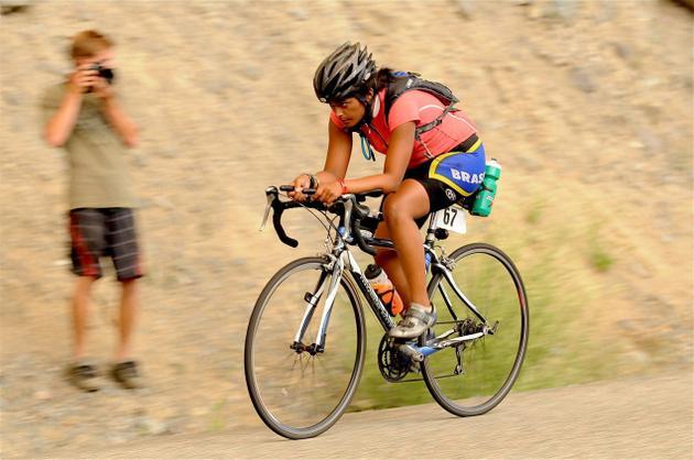 Anu Vaidyanathan during Ultraman Canada triathlon