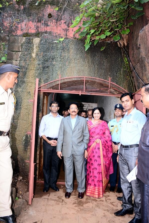 Maharashtra Governor C. V. Rao (in grey suit) and his wife Vinodha, examining a British-era underground bunker found in Maharashtra Raj Bhavan in Mumbai, on Tuesday. (Photo: IANS)