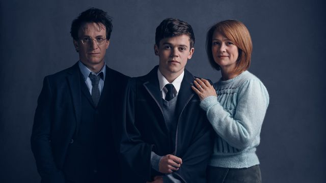 """Actors playing Harry Potter, his middle child Albus Severus, and wife Ginny Weasley in play \""""The Cursed Child\"""""""