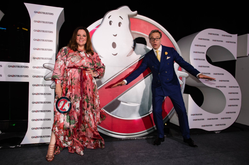"""Melissa McCarthy and Paul Feig attend  the """"Ghostbusters"""" red carpet and Guinness World Record event at Marina Bay Sands on June 12, 2016 in Singapore."""