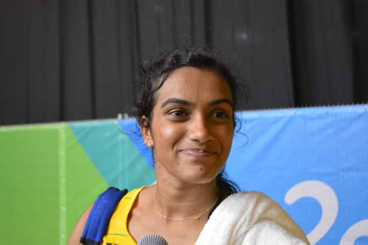 India\'s P.V. Sindhu, who thumped Nozomi Okuhara of Japan to enter the final of the women\'s singles event of badminton competitions at the Rio 2016 Olympic Games in Rio de Janeiro, Brazil on Aug 18, 2016. (Photo: IANS)