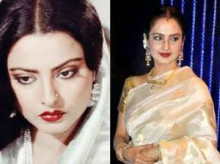 Bollywood diva Rekha in white.