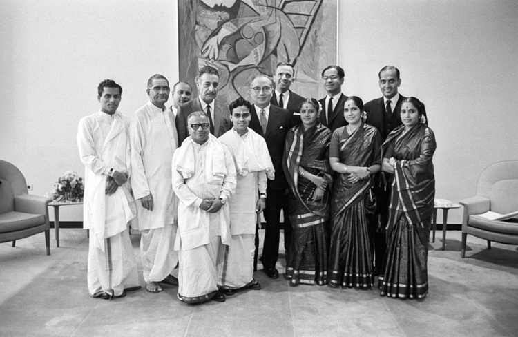 Uthant: After M S Subbulakshmi\'s historic concert at the United Nations on Oct. 23, 1966, seen with her are Secretary-General U Thant (centre); Abdul Rahman Pazhwak of Afgahanistan, who was the President of the 21st session of the General Assembly (third from left, second row); G. Parthasarath, India\'s Permanent Representative (second from right, second row); and C.V. Narasimhan, Under-Secretary for General Assembly Affairs and Chef de cabinet (right, second row). Photo credit: United Nations/IANS
