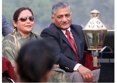 VK Singh's wife Bharti Singh has accused a Delhi man of extortion and blackmail. (Photo courtesy: DNAIndia)