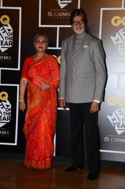 Amitabh Bachchan, winner of The GQ Legend Award with Jaya Bachchan at GQ Men of the Year Awards 2016