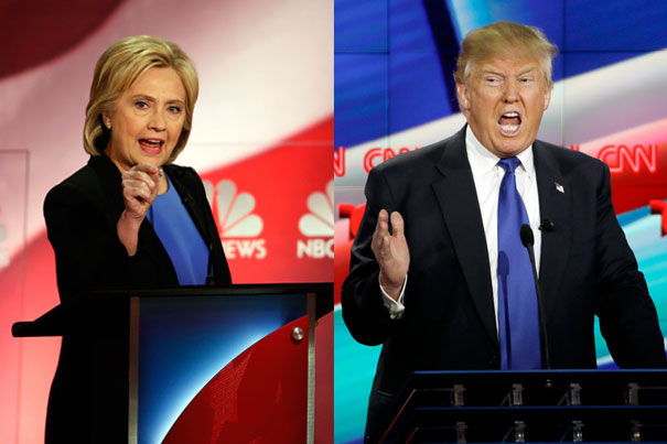 """Photos (left) by Mic Smith; (right) by David J. Phillip Democratic presidential candidate Hillary Clinton and Republican presidential candidate Donald Trump will seek to """"not lose"""" in front of a television audience that is expected to rival the Super Bowl's."""