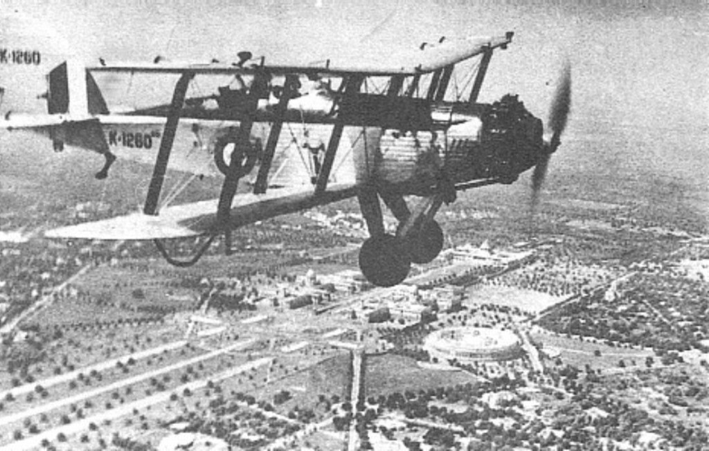 The Westland Wapiti, four of which were the Indian Air Force\'s first planes, seen above New Delhi in the 1930s