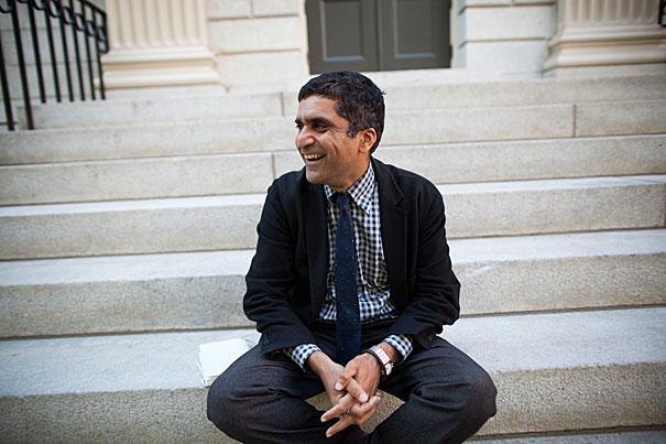 Dean of Harvard College Rakesh Khurana is pictured outside University Hall at Harvard University. Stephanie Mitchell/Harvard Staff Photographer