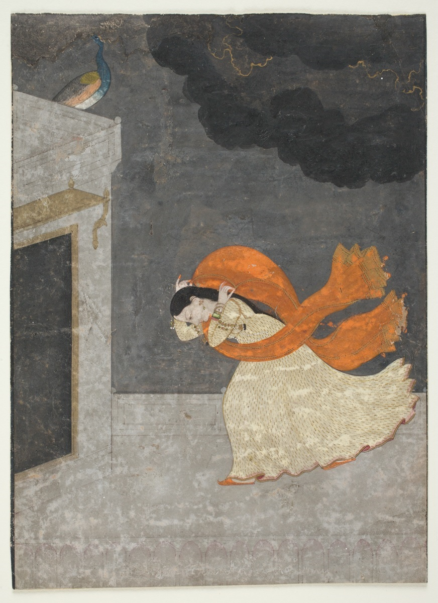 "Focus Object: ""The Storm (a lady taking shelter from the monsoon wind and rain),"" Indian, Punjab Hills, about 1760-1770  watercolor on paper, 16.5 x 12.1 cm (6 1/2 x 4 3/4 in.), Gift of Alexander H. Bullock, 1956.3"