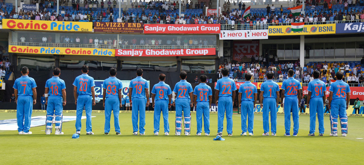 India Players wears a t-shirt which display his mothers name during National Anthem during the 5th One Day International match ( ODI ) between India and New Zealand held at the Dr. Y.S. Rajasekhara Reddy ACA-VDCA Cricket Stadium in Visakhapatnam on the 29th  October 2016. Photo by: Deepak Malik/ BCCI/ SPORTZPICS
