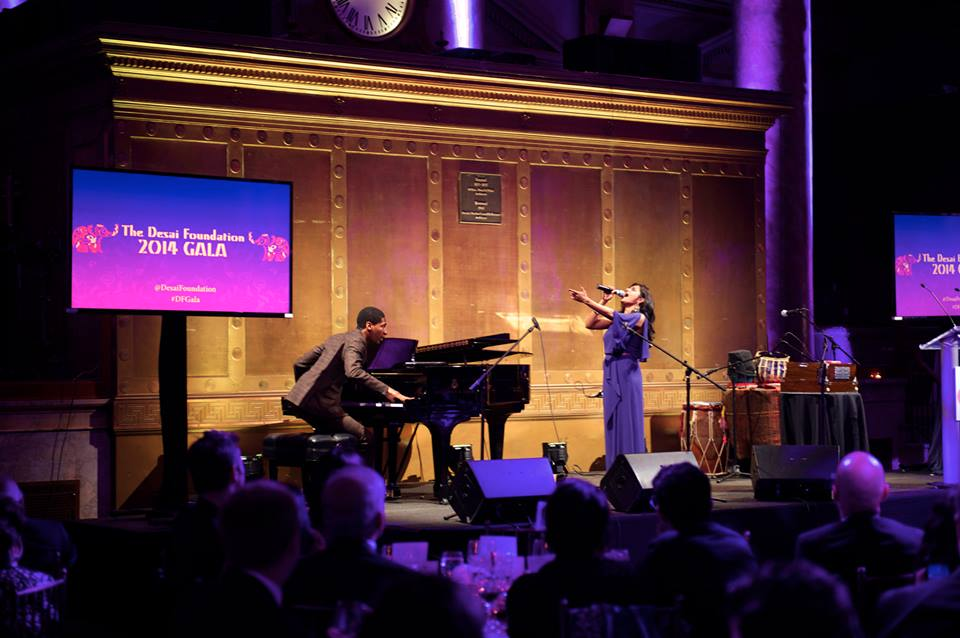 Falu singing in a special collaboration with Jon Batiste, music director & bandleader of The Late Show with Stephen Colbert, at the inaugural Desai Foundation Gala at Capitale, NYC on April 9, 2014