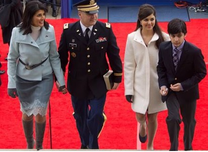 Nikki Haley, who is President-elect Trump\'s pick for the cabinet-level job of Ambassador to the United Nations, is seen with her husband Michael, and children Rena and Nalin after she was sworn-in for a second term as the governor of South Carolina last year. (Photo credit: Haley\'s Facebook/IANS)