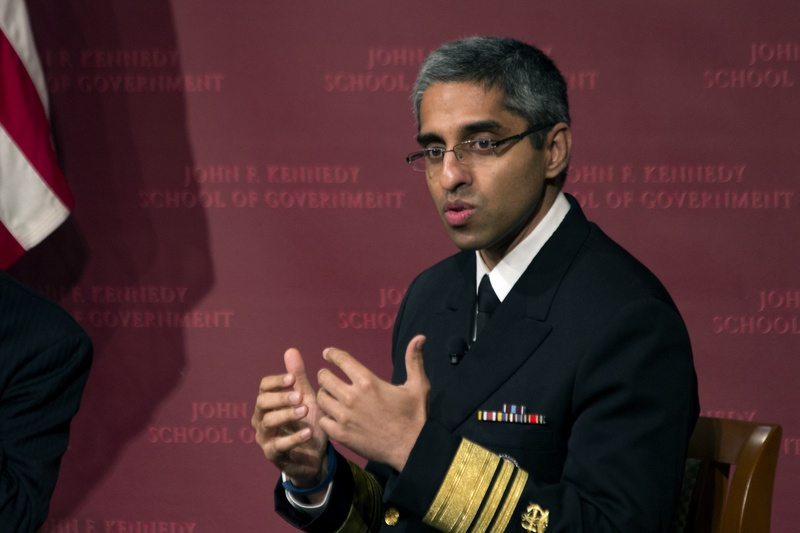Photo courtesy: The Harvard Crimson: U.S. Surgeon General Vivek H. Murthy '98 discussed the problems created by the current opiate drug abuse epidemic in the United States during a lecture at the Institute of Politics Monday evening. Moderated by HKS Professor Amitabh Chandra, the conversational lecture included discussion of public health policy and the future of health lawmaking under president-elect Donald Trump's future administration. Thomas W. Franck