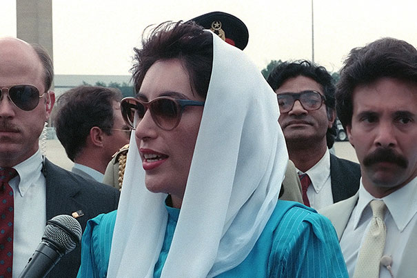 Photo Credit: Wikimedia Commons A new leadership program has been established to honor Benazir Bhutto, the late prime minister of Pakistan. She is pictured speaking to the press upon her arrival for a state visit at Andrews Air Force Base in 1988.