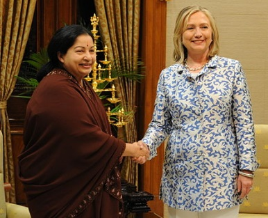 When she was the US Secretary of State, the Democratic Party candidate for president, Hillary Clinton, met the late Tamil Nadu Chief Minister J. Jayalalithaa at Fort St. George in Chennai in 2011. (Photo credit: US State Dept./via IANS)