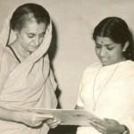 Indira Gandhi receiving a LPR of Meerabai's bhajans recorded in the voice of Lata Mangeshkar -1967