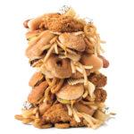 Large pile of junk food